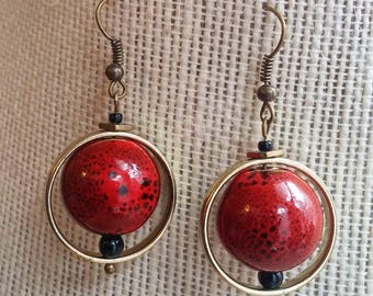 orbital earrings, red
