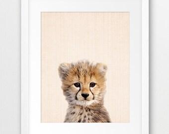 Cheetah Print, Cute Cub Cheetah Print, Safari Decor, Baby Cheetah Print, Nursery Wall Art, Home Decor, Baby Animal, Kids Room Printable Art