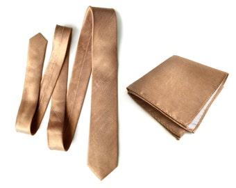 "Copper linen necktie. Burnt orange woven silk & linen blend men's tie. ""Conservatory"" rustic wedding necktie. Pocket squares available too!"