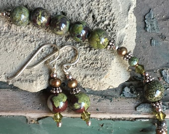 Dragon's Blood Jasper, Freshwater Pearl, Swarovski Crystal and Sterling Necklace Set