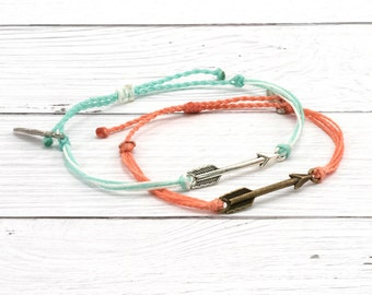 Wax Cord Bracelet, Arrow Charm, Friendship Bracelet, Boho Surfer Bracelet, Stackable Beach Bracelet, Waterproof Waxed Cord Bracelet