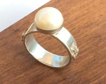 Pearl Ring, Silver Pearl Ring, Pearl Silver Ring, Sterling Silver Ring, Pearl Jewelry, White Pearl Ring, White Pearl, Freshwater Pearl,