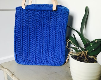 Tote - Blue Crocheted tote