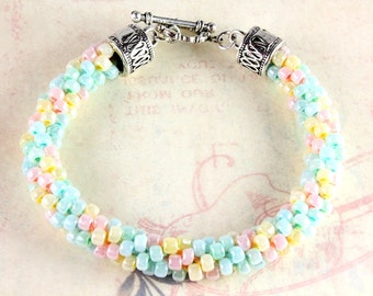 Pastel Kumihimo Bracelet, Spring Kumihimo Bracelet, Easter Bracelet, Beaded Kumihimo Bracelet