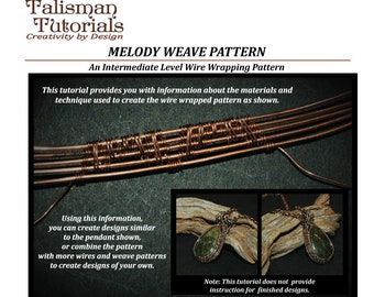 TUTORIAL: Wire Weaving Pattern, Wire Wrap Tutorial, Copper Wire Jewelry Instruction, Intermediate Level Wire Craft Lesson, Melody Weave