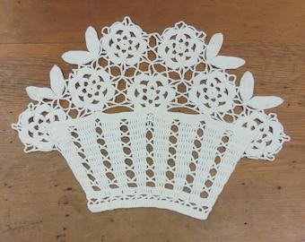 Vintage Crocheted Doily Applique Basket of Flowers