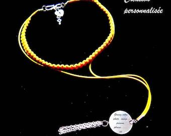 collier macramé jaune à graver