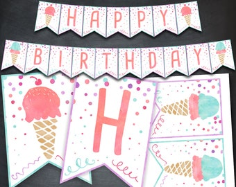 Ice Cream Banner, Ice Cream Birthday Banner, Ice Cream Social, Ice Cream Party, Happy Birthday Banner, Favors, Digital Banner, Printable