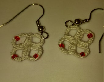 Hand tatted white with red beads earrings nickel free