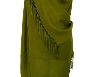 Olive Green Pashmina Olive Scarf Green Shawl Green Wrap Green Scarf Bridesmaids Gift Green Wedding Shawl Bridesmaid