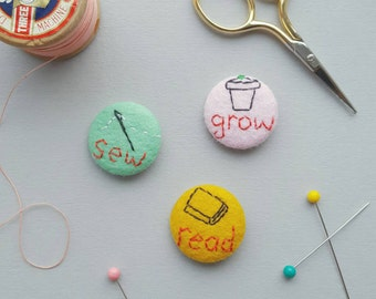 Read sew grow set of felt badges - 3 hand stitched badges - mustard mint and pink