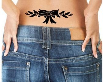 Temporary Tattoo 1 Bow Lower Back Tattoo Ultra Thin Fake Tattoo Body Art