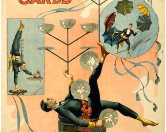 antique victorian circus act poster equilibrist juggler illustration DIGITAL DOWNLOAD