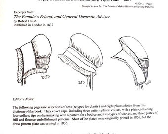 Regency Sewing: Caps, Collars & Dressmaking Tips - PDF file ONLY - 1820-2