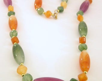 Three Colour Bead Long Necklace