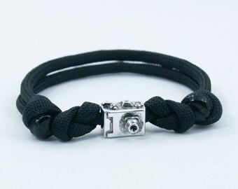 Camera Bracelet, Photographer Bracelet, Adjustable Bracelet, Retro Camera, Photog Gift, Photography, Paracord Bracelet, Camera Charm, Cam