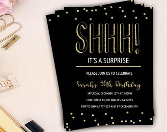 it's a surprise birthday invitation, shhh it's a surprise birthday invitation, gold surprise birthday invitation, gold and black invitation