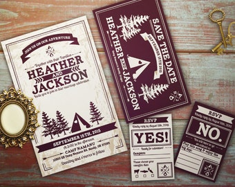 Camping Wedding Invitation Set; Glamping, Camp Love, neutral, tent, Downloadable Custom