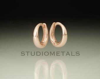 Rose Gold Hoop Earrings, Huggie Earrings, 14K Small Gold Hoops