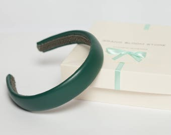 Leather padded headband Emerald  green padded headband Classic headband Traditional Emerald  headband Fashion    headband  hair accessory
