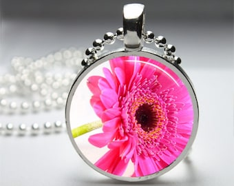 In the Garden Flowers Photography Round Pendant Necklace with Silver Ball or Snake Chain Necklace or Key Ring