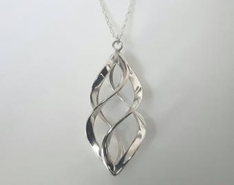Sterling Silver Spiral Pendant Necklace