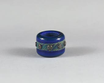 Dread Glass Bead - Blue and green with metallic dots, 6.6mm hole