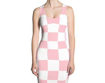Womens Dress,Checkered,Pink,Summer,Dresses,Spring,Long,Evening,Printed,Unique,Fashion,Girls,Clothing,Design,Cute