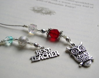 Hoot Owl Best Teacher Bookmark - Beaded Book Thong Appreciation Gift in Silver, Red, Crystal, and Aqua Blue