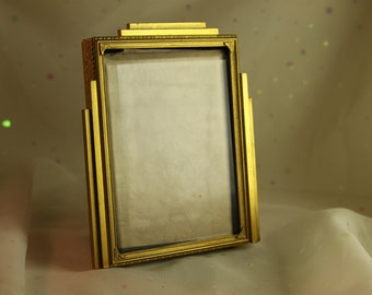 Art Deco Art Noveau Gold frame Beveled Glass Velvet Backing Etched Flower Design
