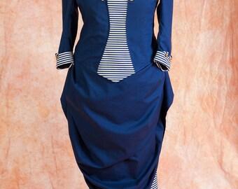 Historical Victorian Bustle Navy dress custom sized