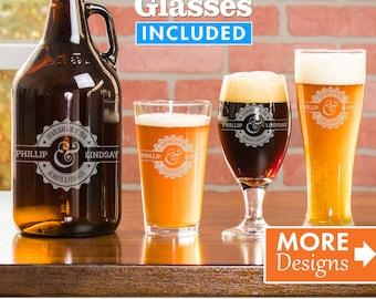 Custom Beer Glasses Set, Wedding Gift, Beer Growler Set, Personalized Growler Set, Daddy Gift, Growler and Glasses Set, Beer Glass Set