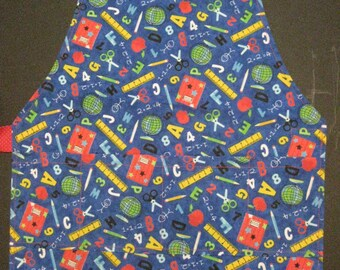 School theme NO-TIE child's apron/Bib, elastic neck strap, hook & loop tape closure eliminate constant retying. Great for all that messy fun