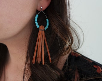 Turquoise and Suede Earrings