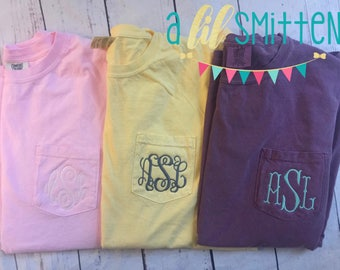 Monogrammed Comfort Color Pocket T-shirt Short Sleeve-comfort colors- Pocket Tee-Clothing- Women's Clothing -Monogrammed T-shirt-soft-pocket