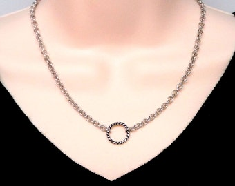 Discreet Slave Collar Stainless Steel Twisted O Symbolic Slave Collar On Oval Cable Chain With Stainless Clasp CLEARANCE