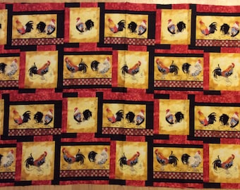 A Beautiful Roosters On The Roam Block Fabric Panel Free US Shipping