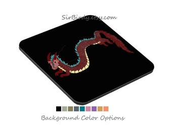 Set of 6 Dragon coasters custom order in sets of 6 with fantasy dragon artwork choose your color background square coaster custom coasters