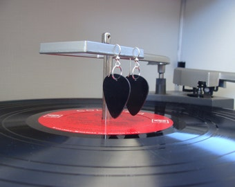 Black Vinyl Record Earrings - Handmade Guitar Picks made from Vinyl Records - Fashion Gift for Rockers, Musicians - Hit Record Earrings