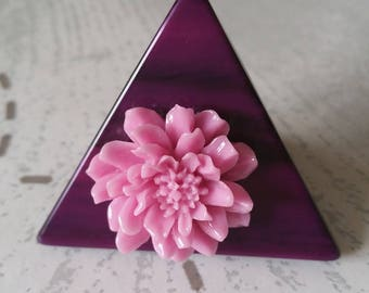 Pink purple flowers triangle ring