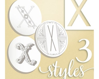 Modern Monograms Letter X hand embroidery patterns in three styles Alphabet Letter embroidery designs by SeptemberHouse
