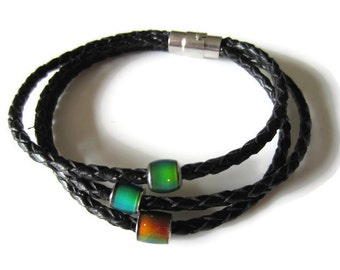 Leather Mood Bracelet, Mood Jewelry, Anniversary, Gift Ideas, Color Changing, Unique Gift, Magnetic Clasp, Black or Brown Braclet