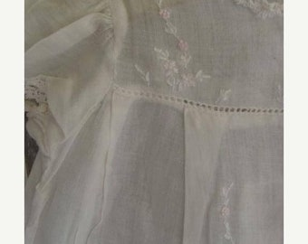 ONSALE Antique Handmade Embroidered White Cotton Baby Doll Dress N071