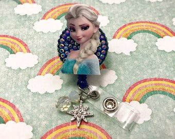 Frozen Elsa Disney Snow Queen Blue Snowflake Beaded Dangle Charm Retractable ID Badge Reel Holder Nurse Rn CNA Technician Work Name Tag Nicu