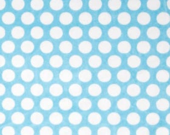 Shannon Fabrics Cuddle Turquoise/Snow Mod Dot Minky Fabric by the yard
