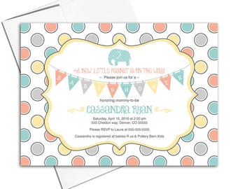Neutral baby shower invitations | elephant baby shower invites mint, orange, yellow | printable or printed - WLP00740