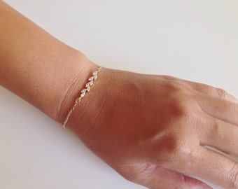 Darling Leaf Bracelet - Available in Gold Filled or Sterling Silver. Lovely As A Bridesmaid's Gift.