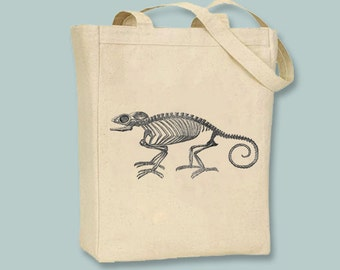 Chameleon Skeleton Vintage Illustration Canvas Tote -- Selection of sizes available, Image in ANY COLOR