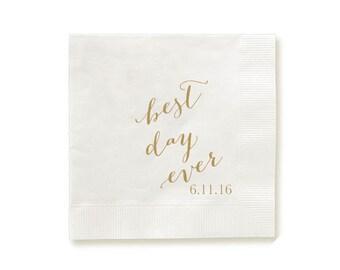 Best Day Ever Napkins, Guest Towels, Wedding Napkins, Party Napkins, Custom Monogram, Assorted Colors for napkin and monogram