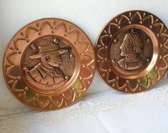 vintage French decorative wall hanging copper plates set of two & Copper plate | Etsy